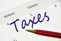 Taxes note. In the agenda Stock Images