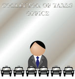 Taxes office. Misunderstanding at the collector of taxes office Stock Photo