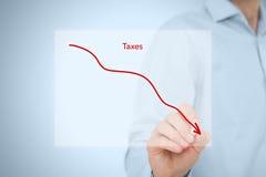Taxes optimization. Business concept. Businessman draw simple graph with descending curve Stock Photos
