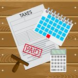 Taxes paid on time. Taxation day and payday, payment on table, calculation tax. Vector illustration Stock Photo