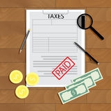 Taxes paid vector concept. Accounting paying, tax form sheet and banknote illustration Royalty Free Stock Photos