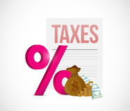 Taxes percentage and money savings illustration Royalty Free Stock Photo