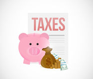 Taxes and piggy bank savings concept Royalty Free Stock Photo