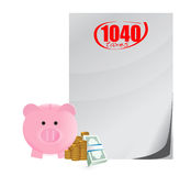 1040 taxes on profits savings profits concept. Illustration design over a white background Royalty Free Stock Photo