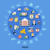 Taxes Round Composition. On blue background with incomes, financial advisor, burden calculation and payment time vector illustration Stock Photos