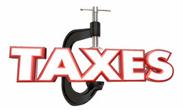 Taxes Squeeze Income Reduce Earnings Money Clamp Vice Stock Images