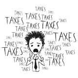 Taxes and taxes. Drawing cartoon Stock Image