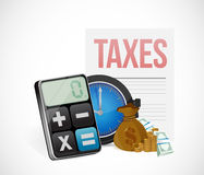 Taxes time concept icons illustration Stock Photos