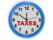 Taxes time. 3D render of a wall clock with word Taxes in red color Stock Images