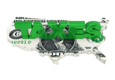`TAXES` with United States Map Dollar Isolated. On white background. 3D render Royalty Free Stock Image