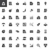 Taxes vector icons set. Modern solid symbol collection, filled style pictogram pack. Signs logo illustration. Set includes icons as Bank Tax form, Money, File stock illustration
