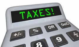 Taxes Word Calculator Accounting Fees. 3d Illustration Royalty Free Stock Image