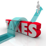 Taxes Word Man Jumping Over Money Owed Government Loophole Avoid Stock Photo