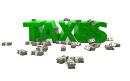 Taxes. The word Taxes rendered in 3D with money bundles Royalty Free Stock Photos