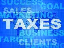 Taxes Words Shows Duty Company和消费税 免版税库存照片