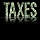 Taxes1. Dimensional reflective Money Word Taxes with Black Backround vector illustration