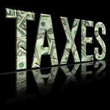 Taxes2. Dimensional reflective Money Word Taxes Persepctive, with Black Backround stock illustration
