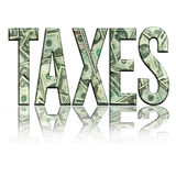 Taxes4. Dimensional reflective Money Word Taxes Persepctive, with Black Backround vector illustration