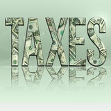 Taxes5. Dimensional reflective Money Word Taxes Persepctive, with Black Backround stock illustration