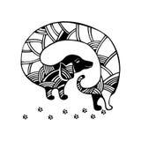 Taxhund missbelåten illustration för pojketecknad film little vektor Stock Illustrationer
