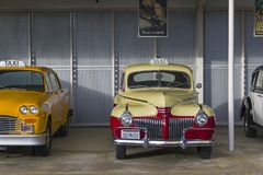 Taxi сars from the movie. DISNEYLAND PARIS, FRANCE - DECEMBER 16, 2017: Taxi сars from the movie `Pearl Harbor`. Walt Disney Studios Park stock photo