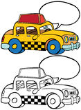 Taxi. Cartoon image of a taxi with blank bubble message - both color and black / white versions Royalty Free Stock Photo