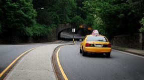 Taxi. Yellow new york taxi cab in central park royalty free stock photo
