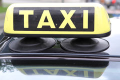 Taxi. Yellow taxi sign close up Royalty Free Stock Images