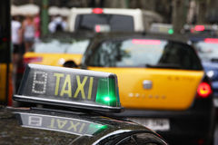 Taxi. Driving in the busy city traffic Royalty Free Stock Image