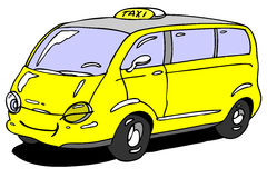 Taxi. Hand drawn cartoon taxi car Royalty Free Stock Image
