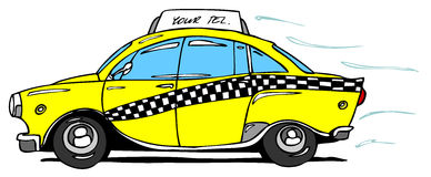 Taxi. Hand drawn yellow taxi cab Stock Photos