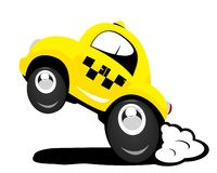 Taxi. The cartoon taxi car in action Royalty Free Stock Image