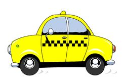 Taxi. The cartoon taxi car in action Stock Images