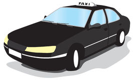 Taxi. Black taxi turning to go left Royalty Free Stock Photography