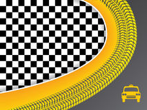 Taxi advertisement design with checkered background Royalty Free Stock Photo