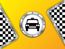Taxi advertising background with metallic badge Royalty Free Stock Photo