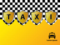 Taxi advertising background with metallic shields Royalty Free Stock Photo