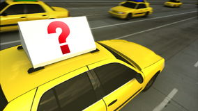 Taxi Advertising Message Board Question Mark (Loop). 3D video animation POV of advertising message board on roof of yellow taxi cab with red question mark stock footage