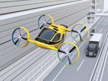 Taxi amarillo del abejón del pasajero que vuela sobre el camión americano que conduce en la carretera libre illustration