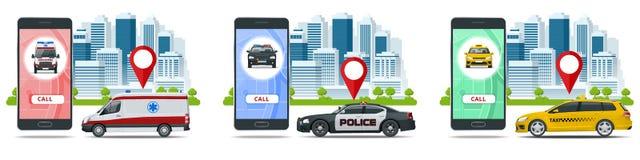 Taxi, ambulance et voiture de police dans le style plat sur le fond blanc Ville de services d'appel Illustration de vecteur illustration stock