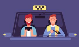 Taxi app. Client and taxi driver inside cab cabin. Taxi booking smartphone application vector background stock illustration