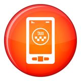 Taxi app in phone icon, flat style Stock Photography