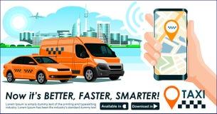 Taxi & app van de vrachtvervoerindustrie banner Moderne de gebouwenhi-tech van de stadshorizon & smartphonegps van de taxicabine  vector illustratie