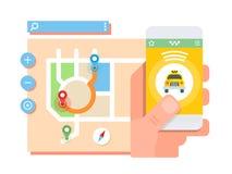 Taxi application concept Stock Photography