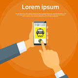 Taxi Application Hand Use Smart Phone Call Cab Car Royalty Free Stock Photos