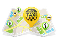 Taxi apps on a map Stock Image