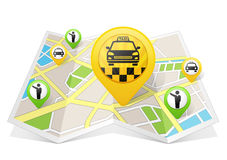 Taxi apps na mapie Fotografia Stock