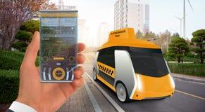 Taxi autónomo futurista imagen de archivo libre de regalías