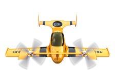 Taxi autonome jaune de bourdon de vol d'isolement sur le fond blanc illustration stock