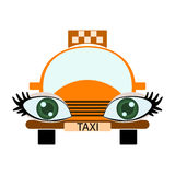 Taxi aux yeux verts drôle Photos stock
